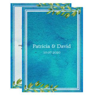 粋な緑は青い水彩画の結婚式を残します 12.7 X 17.8 インビテーションカード