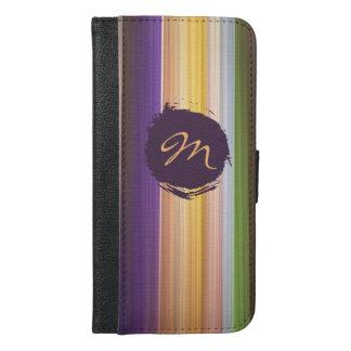 粋な縞模様及びカスタムのモノグラム iPhone 6/6S PLUS ウォレットケース