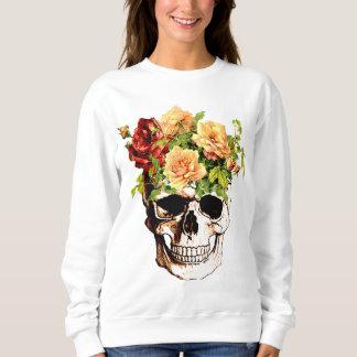 粋な花のスカル スウェットシャツ