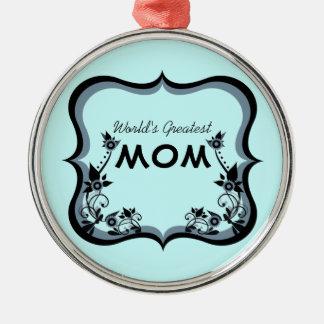 粋な花の世界で最も素晴らしいお母さんのオーナメント メタルオーナメント