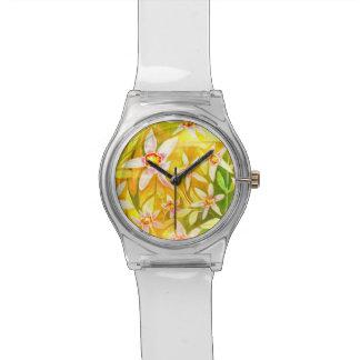 粋な花の水彩画の腕時計 腕時計