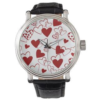 粋な赤と白のハートパターン腕時計 腕時計