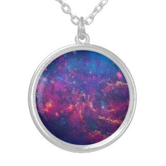 粋な銀河系のプリント/星雲の宝石類 シルバープレートネックレス