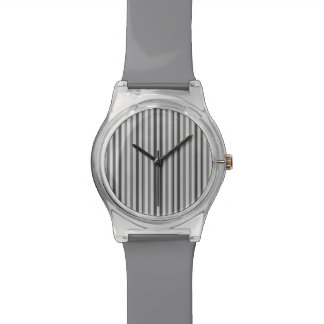 粋な銀製灰色の横のストライプ 腕時計