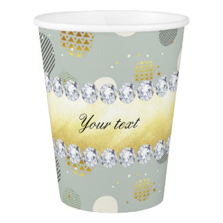粋な雪の水玉模様の星のダイヤモンド 紙コップ