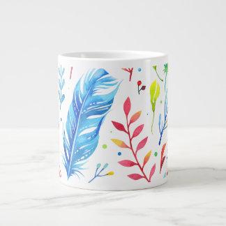 粋な青オレンジ花のBohoの羽パターン ジャンボコーヒーマグカップ