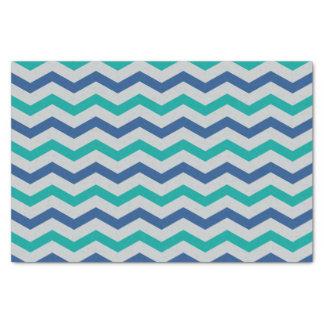 粋な青緑シェブロンは縞で飾ります 薄葉紙