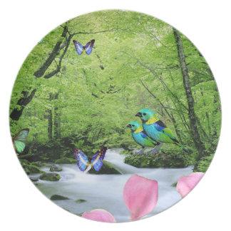 粋な鳥および蝶景色のメラミンプレート プレート
