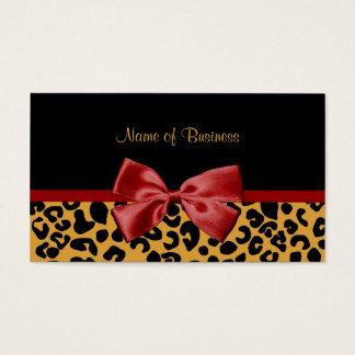 粋な黒および金ゴールドのヒョウは赤いリボンを印刷します 名刺