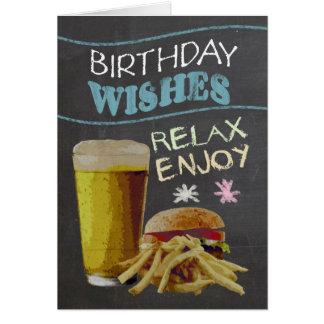 粋な黒板の効果、ビールと、ハンバーガー カード