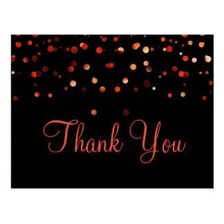 粋なInexpensivの赤いグリッターの黒は感謝していしています ポストカード