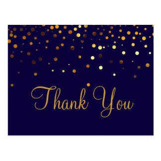 粋なInexpensivの金ゴールドのグリッターの青は感謝していしています ポストカード