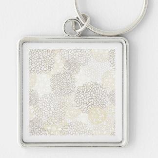 粘土および白い花の破烈のデザイン キーホルダー