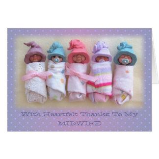 粘土のベビー: 私の助産婦のおかげで: 彫刻 カード