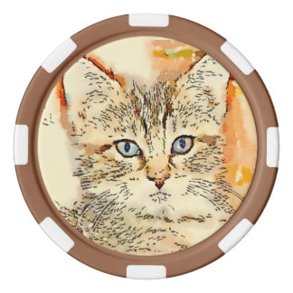 """粘土のポーカー用のチップ- """"青い目の子猫"""" ポーカーチップ"""
