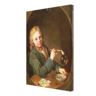 粘土管1766年からの泡を吹いている若者 キャンバスプリント