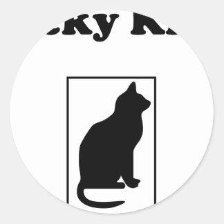粘着性がある子猫のデザイン-マットの執事 ラウンドシール