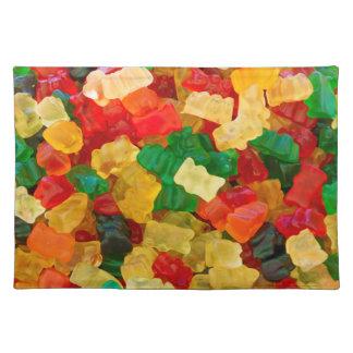 粘着性くまの虹によって着色されるキャンデー ランチョンマット