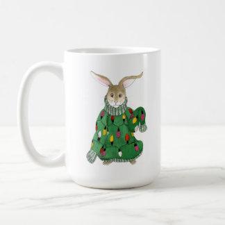 粘着性のクリスマスのセーターのバニーのマグ コーヒーマグカップ