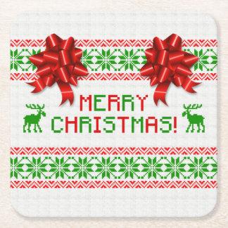 粘着性の醜いクリスマスのセーターの赤い緑の弓クリスマス スクエアペーパーコースター