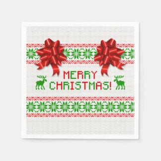 粘着性の醜いクリスマスのセーターの赤い緑の弓クリスマス スタンダードカクテルナプキン