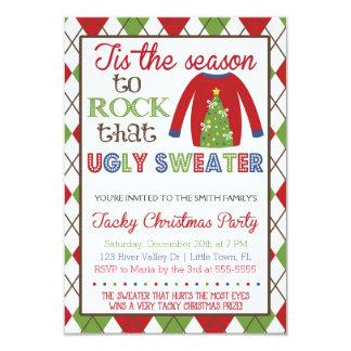 粘着性の醜いセーターの休日のパーティ カード