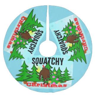 粘着性Squatchyのおもしろいなクリスマスビッグフット ブラッシュドポリエステルツリースカート