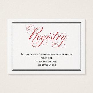 精巧で赤い原稿の結婚式の登録カード 名刺