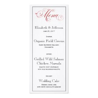 精巧で赤い結婚式メニューカード カード
