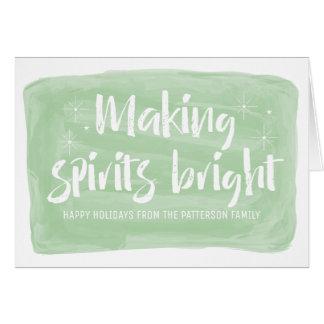 精神に明るい休日をする緑の水彩画 カード