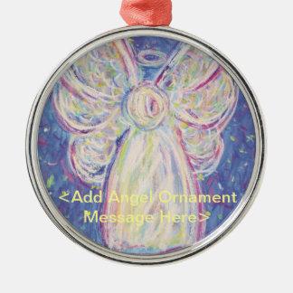 精神の天使のクリスマスのプレゼントのオーナメントの心配 シルバーカラー丸型オーナメント