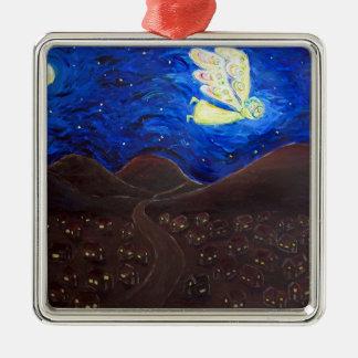 精神の天使のクリスマスのプレゼントのオーナメントの心配 シルバーカラー正方形オーナメント