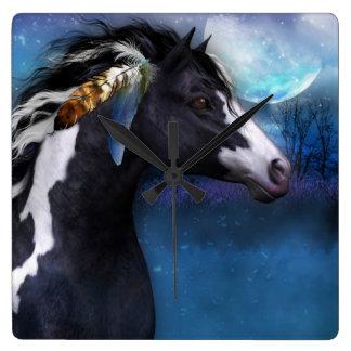 精神の馬のファンタジーの芸術の柱時計 スクエア壁時計