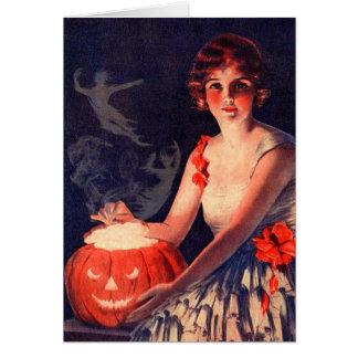 精神ハロウィンを呪文で呼び出すヴィンテージ グリーティングカード