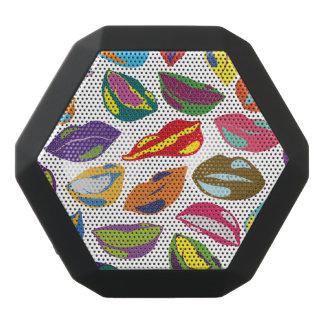 精神分析のレトロの多彩なパターン唇 ブラックBluetoothスピーカー