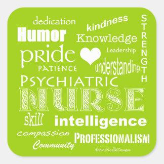 精神医学のナースのプライドの属性ライムの緑 スクエアシール