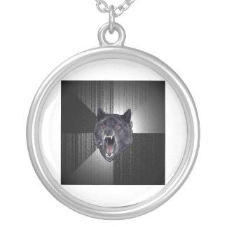 精神異常のオオカミのアドバイス動物のミーム シルバープレートネックレス