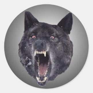 精神異常のオオカミ ラウンドシール
