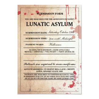 精神病院の型枠のハローウィンパーティの招待 カード
