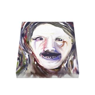 精神錯乱- 11x14キャンバスの気違いの表現主義の顔 張りキャンバスプリント