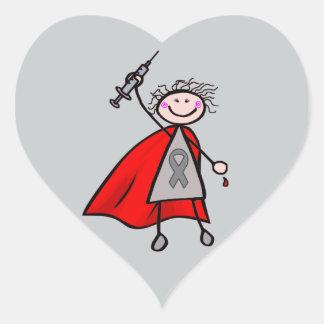 糖尿病のインシュリンのスーパーヒーローの女の子 ハートシール