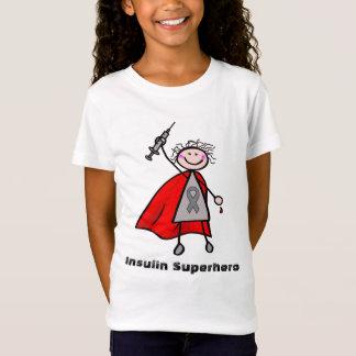 糖尿病のインシュリンのスーパーヒーローの女の子 Tシャツ
