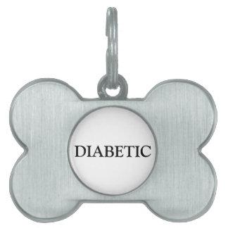 糖尿病性のペットタグ-黒 ペットネームタグ