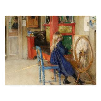 糸車の小さな女の子 ポストカード