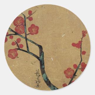 紅梅図、光琳のプラム花、Kōrin ラウンドシール