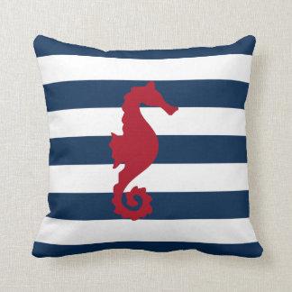 紅海の馬の濃紺のストライブ柄の航海のな枕 クッション