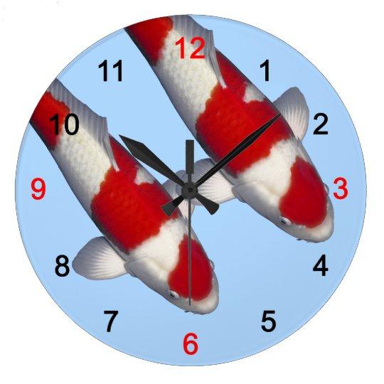 紅白の錦鯉の壁時計,No.12_ ラージ壁時計