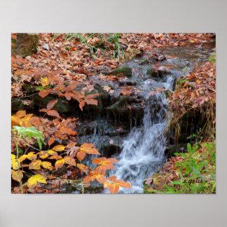 紅葉および滝の写真ポスター ポスター