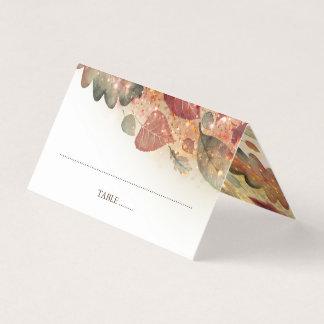 紅葉のグリッターの白いエレガント プレイスカード