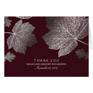 紅葉のバーガンディの銀製の結婚式は感謝していしています カード